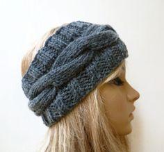 Women Headband, Merino Wool Acrylic Cabled Knit Ear Warmer, Dark Grey Braided Hand Knitted Headband, Clickclackknits by Clickclackknits on Etsy