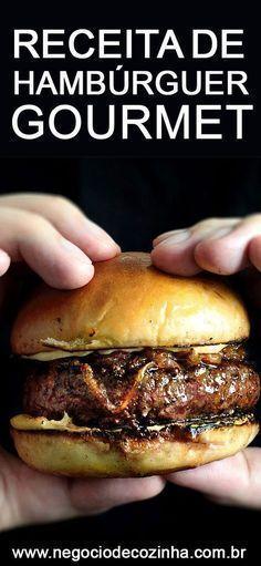 Aprenda uma deliciosa receita de hambúrguer gourmet. Conheça o passo a passo e comece a fazer. Quem sabe essa não é uma ótima oportunidade para você começar a ganhar dinheiro? Olhá lá e pratica em casa! #façaevenda #hambúrguer #hambúrguergourmet #venderhambúrguer #ganhardinheiro #hamburgueria #empreendedorismo Burger Dogs, Good Burger, Hamburgers, Loose Meat Sandwiches, Beer Recipes, Portuguese Recipes, Creative Food, Food Items, Food Truck