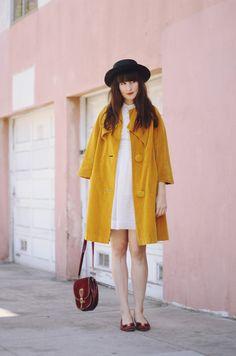 Love the big splash of yellow in this coat!