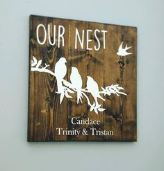 Excited to share this item from my #etsy shop: Our Nest Farmhouse Style Sign with Three Birds on a branch and a bird in the sky with personal family names on the bottom Gifts for Her Family Name Signs, Family Names, Music Converter, Birds In The Sky, Three Birds, Simple Rules, Wooden Signs, Diy And Crafts, Wedding Gifts