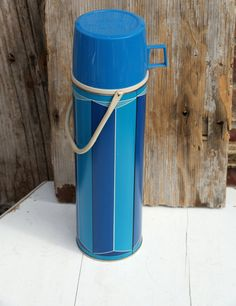 Blue Striped Vintage Thermos Tall Blue Metal by BeachLaneVintage
