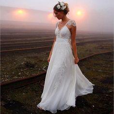 Vestidos De Novia 2016 Vintage Boho Vestido De Noiva Vestidos De Mulher Vestidos Sexy Vestidos De Noiva Comprimento Andar Com Laço frisado