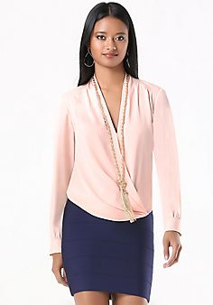 c553a2711d1 Long Sleeve Surplice Blouse. Courtney Thomas · Lane Bryant with Bebe