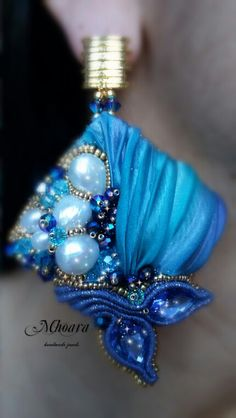 ' Portofino ' earrings blue turquoise, Shibori silk,pearls, soutache, beadembroidery, silk ribbon. Mhoara Jewels.