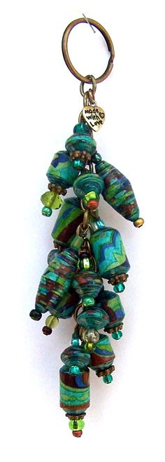 Paper Bead Key Chain by PassionForPaperBeads on Etsy