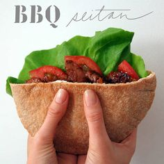 1 package prepared seitan 1 yellow onion 1 beefsteak tomato 2 leaves of lettuce (romaine or butterhead) 2 whole wheat pitas 4 tablespoons veganaise 4 cups BBQ sauce, we like Annies 2 tablespoons olive oil