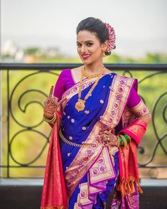 Image may contain: 1 person, standing, child and closeup Indian Bridal Fashion, Indian Bridal Wear, Indian Wedding Outfits, Indian Wear, Marathi Bride, Marathi Saree, Marathi Wedding, Wedding Sarees, Groom Colours