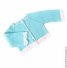 Yeni doğmuş bebekler için, el yapımı. Fuar Masters - kız, turkuaz (0-3 ay) için el yapımı kazak. El yapımı.