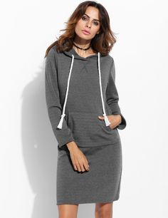 Dark gray Long Sleeve Hooded Pocket Package Hip Casual Dress