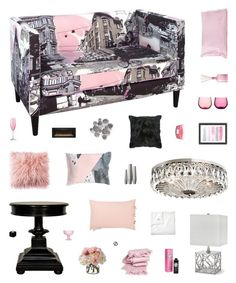 """""""Young Love"""" by belenloperfido ❤ liked on Polyvore featuring interior, interiors, interior design, home, home decor, interior decorating, Skyline, Diane James, Noir and Clayton"""