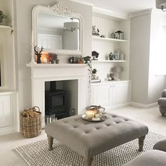37 Simple Living Room Shelving Ideas for Space Saving Simple Living Room, New Living Room, Home And Living, Small Living, Modern Living, Colours For Living Room, Log Burner Living Room, Country Style Living Room, Living Area