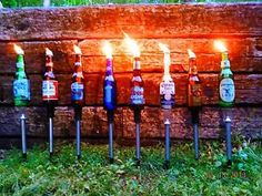 6 Yard Stakes for Beer Bottle Tiki Torches Beer Bottles Stakes DIY Crafts Beer Bottle Crafts, Beer Crafts, Diy Crafts, Craft Beer, Redneck Crafts, Redneck Party, Bottles And Jars, Beer Bottles, Tiki Torches