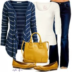Casual Outfits | Mustard and Navy  Fat Face cardigan, Louisa t-shirt, Naf Naf Jeans, Crown Vintage flat shoes, Tory Burch tote bag  by styleofe
