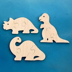 Wood Dinosaur Puzzles Set of 3 Childrens Wooden by nwtoycrafters, $8.50