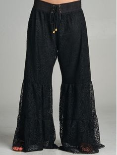 Cream or Black Lace Palazzo Pants in One Size - fits Medium - XL