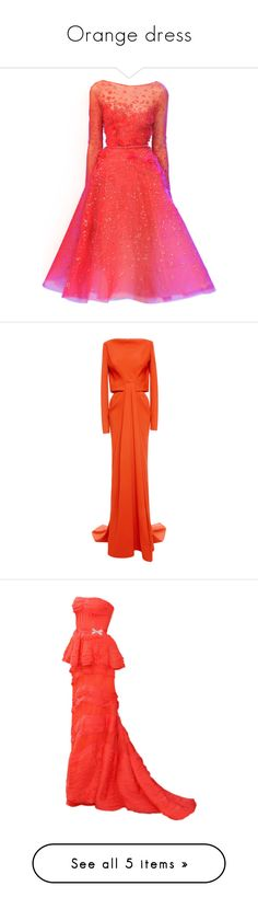 """""""Orange dress"""" by ronniethisisme ❤ liked on Polyvore featuring dresses, gowns, vestidos, satinee, 13. dresses., red gown, elie saab dresses, elie saab evening gowns, red evening gowns and elie saab evening dresses"""