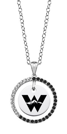 """Western State Colorado Mountaineers Black and White Cz Circle Necklace. Officially Licensed. Chain Length is 16"""" with a 2"""" Extender. Number of Stones: 35. Charm Size is 18mm (size of a penny). """"the indicia featured on this product is a protected trademark owned by the respective sorority""""."""