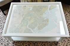 Great DIY idea - take an old map and create an interesting coffee table.....(Beach House Decorating)
