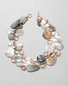 Ippolita Ondine Triple-Strand Pearl/Quartz Necklace - List of the best jewelry Shell Jewelry, Beaded Jewelry, Jewelry Necklaces, Handmade Jewelry, Beaded Necklace, Beaded Bracelets, Unique Jewelry, Jewelry Logo, Jewelry Quotes