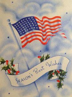 Vintage Christmas card, WII Patriotic with American Flag