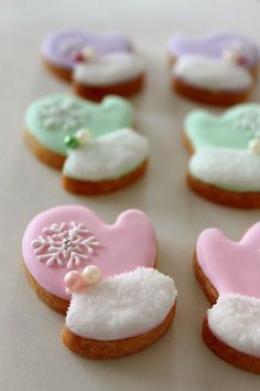 Winter Mitten Cookies~                                   By Diary bread sometimes sweets, pink, green, purple, snowflake