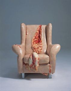 If you are of a squeamish disposition, I advise you to look away now.  The Gutsy Chair is the creation by Chinese artist Cao Hui, who is quite famous for his weird sculptures.  Will you be ordering one?
