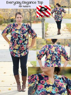 Patterns For Pirates Everyday Elegance Top Sewing Pattern - This pattern has all the style you need in a loose, flowy, comfortable shirt! It can be made with a woven or knit material, but works best with fabrics that have a. Pdf Sewing Patterns, Clothing Patterns, Women's Clothing, Crochet Patterns, Visual Kei, Sewing Clothes, Diy Clothes, Diy Camisa, Patterns For Pirates