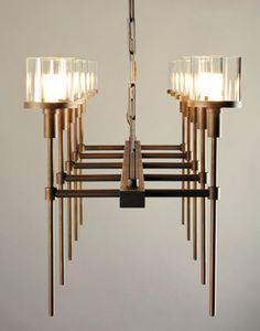 Ventoux glass and oil-rubbed bronze chandelier by Jonathan Browning Studios
