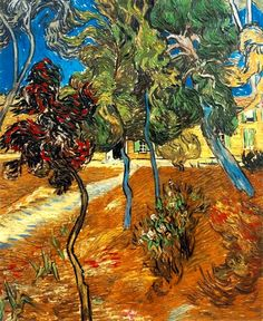 Vincent Van Gogh >> Trees in the Asylum Garden [1889]