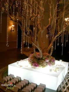 Beautiful & Sparkly Escort Table Display by Nature's Petal