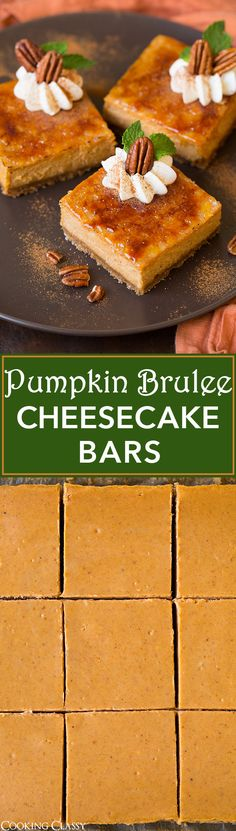 Pumpkin Brulee Cheesecake Bars - these are incredible!! They'll be the hit of any party! Perfectly pumpkin-y and just the right amount of spice, and the textures of the shell and creamy cheesecake are divine!