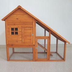 indoor rabbit guinea pig hutch   Rabbit Hutch Guinea Pig House Cage Pen & Built In Run - Feel Good UK