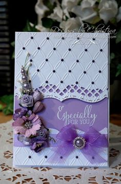 Hi Everybody, Lilac is a colour that I don& use that often but I was really pleased with how this card turned out. It has been created with the Matting Basics and this has been the start of all t Wedding Anniversary Cards, Wedding Cards, Card Making Inspiration, Making Ideas, Spellbinders Cards, Embossed Cards, Pretty Cards, Sympathy Cards, Copics