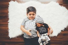 Cute little brother outfit baby boy take by PaisleyPrintsSpokane Hipster baby outfit | black and white baby clothes modern baby clothes #affiliate