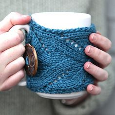 Turn any mug into a fancy mug whose contents stay warmer, longer with this elegant lace mug cozy. A big, coordinating button helps keep it snug.