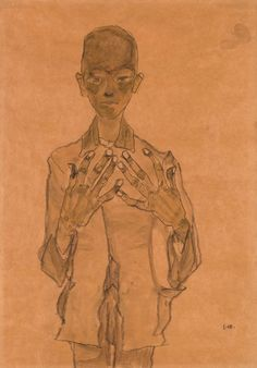 Egon Schiele   Standing Boy with Hands on Chest   1910   The Morgan Library…