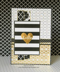 Black and gold Hello card with DCWV papers