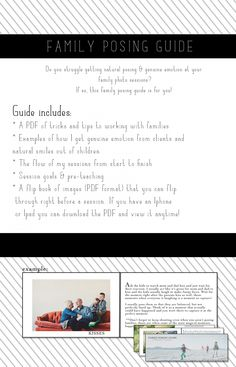 A family posing guide. Tips and tricks for working with families.