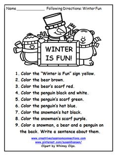 This free Following Directions worksheet provides some fun practice with color words and simple vocabulary words. More free direction worksheets are available at pinterest.com/susankhansen/ Complete units available at www.creativeclassroomconnections.com.