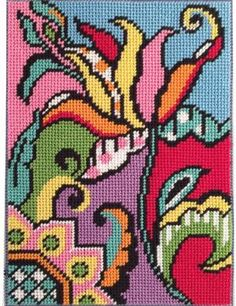 Get 10 of the best floral needlepoint patterns you can stitch for spring. Take a look at beautiful Quickpoint posies, petit point pins, and more.: Tulip Abstract Canoodles Needlepoint Kit