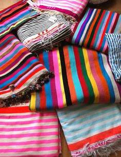 Bright striped blankets by soukshop.com