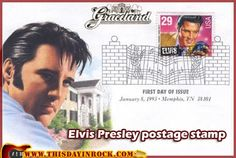 "4 June 1992 - Priscilla Presley announces the winner of the Elvis postage stamp vote from the lawn of Graceland in Memphis, Tenn. Fans vote 851,200 to 277,723 for a 1950s-era Elvis over an older Elvis. Presley was chosen for a ""Legends of American Music"" series of 29- cent first-class stamps."