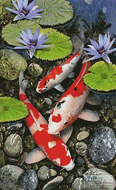 Koi Pond - cross stitch pattern designed by Tereena Clarke. Category: Fish.