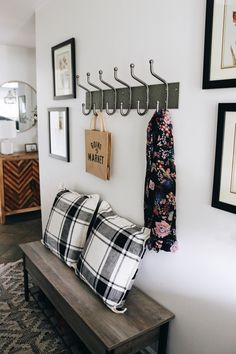 A seasonal fall entry makeover is easy with these stylish botanicals, reversible pillows and a farmhouse storage bench from Walmart Blue And White Pillows, Rearranging Furniture, Leather Ottoman, Modern Farmhouse Style, Baskets On Wall, Organizing Your Home, Cool Things To Make, Pottery Barn, Room Inspiration