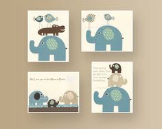 Baby Room Decor Nursery Room Decor Baby Elephant Nursery Room Set of 4 Blue Brown Teal Cream Baby room decor Boy room art Elephant theme by DesignByMaya on Etsy https://www.etsy.com/listing/97750291/baby-room-decor-nursery-room-decor-baby