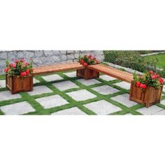 VIFAH V295 Outdoor Wood Double Bench and Flower Box Combo, Natural Wood Finish, 96 by 96 by 19-Inch