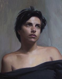 """Portrait of Eva"" - Andrew Ameral, 1995 {contemporary figurative artist female head woman face cropped painting #loveart} Apprehensive !! ameralart.com"