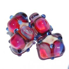 Handmade Lampwork Glass Bead Set DH Clio color-shifting pink periwinkle blue
