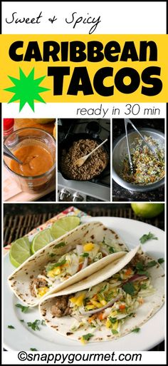 Caribbean Tacos recipe with pork, an easy sweet and spicy mango sauce, and a quick tropical cole slaw! Healthy Tacos, Quick Healthy Meals, Healthy Eating, Healthy Recipes, Pork Recipes, Mexican Food Recipes, Cooking Recipes, Recipies, Tamales