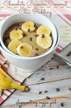 Cacao Banana Coconut Chia Pudding: make ahead Whole30 breakfast
